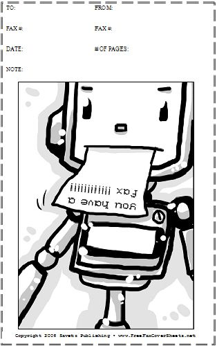 A cute cartoon robot spits out a fax on this printable fax cover - blank fax cover sheet