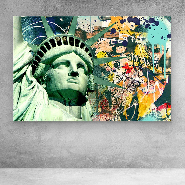 Statue Of Liberty Graffiti Canvas Wall Art Pop Art Canvas Art Pop Art