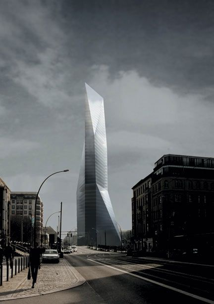 Spreedreieck Proyecto De Un Rascacielos Junto Al Rio Spree Spreedreieck Project For A Skyscraper Near The River Spree Berlin Germany 2001