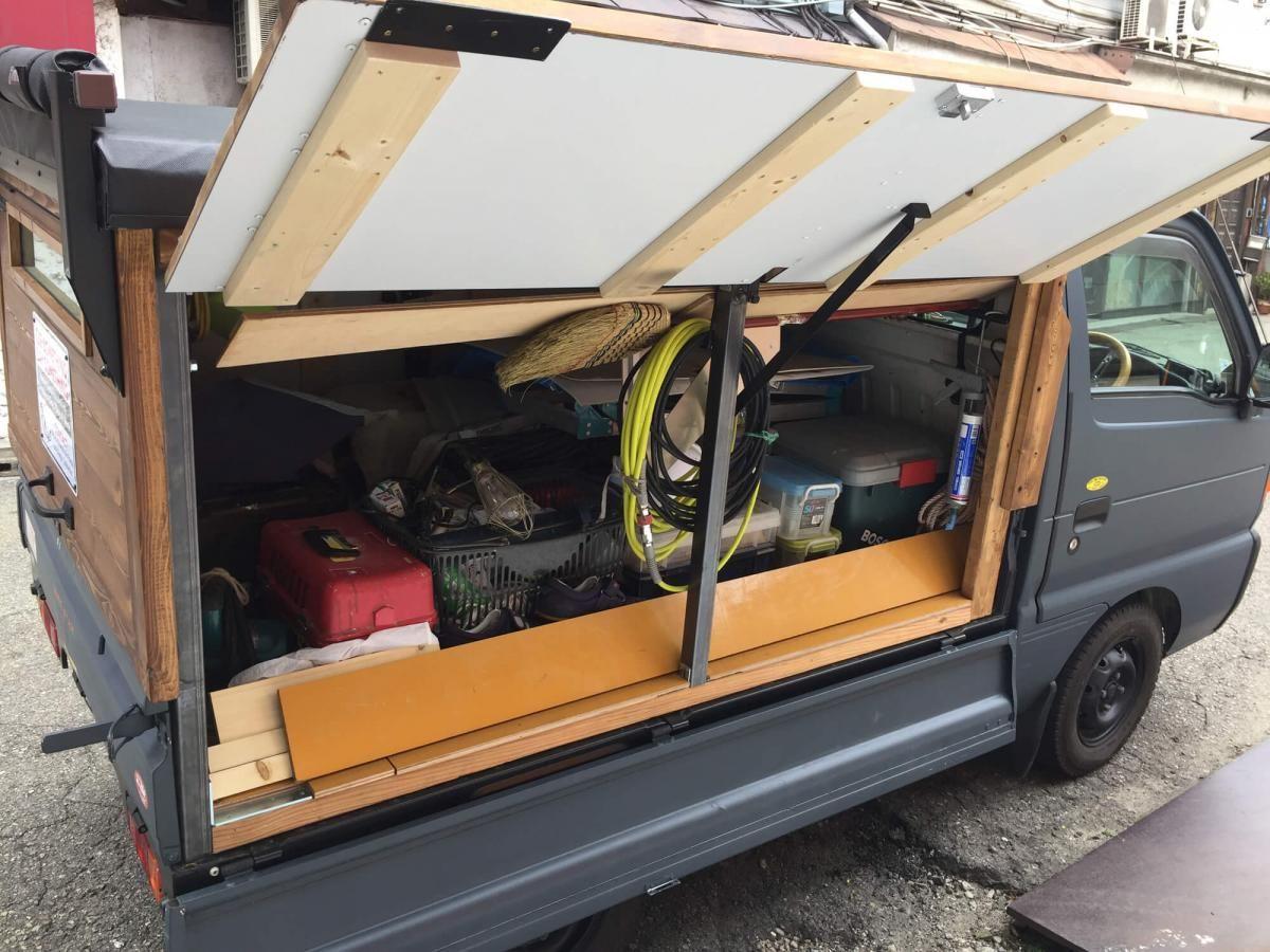 軽トラックををレインブーツネイビーで全塗装 刷毛 ハケ ローラーで車をdiyで全塗装しよう 軽トラック トラック 荷台 バンでのキャンプ