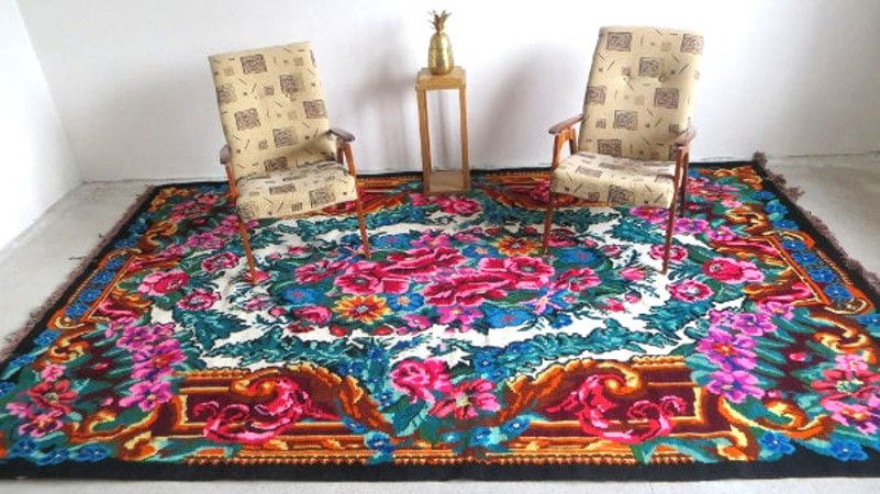 Kilim with flowers floral kilim rugs tapis kilim laine for Alfombras baratas madrid