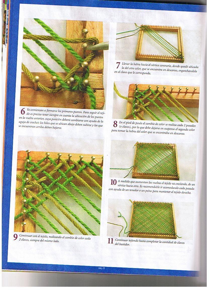 puntos-bastidor-cuadrado-2 … | tejidos en telar | Pinterest