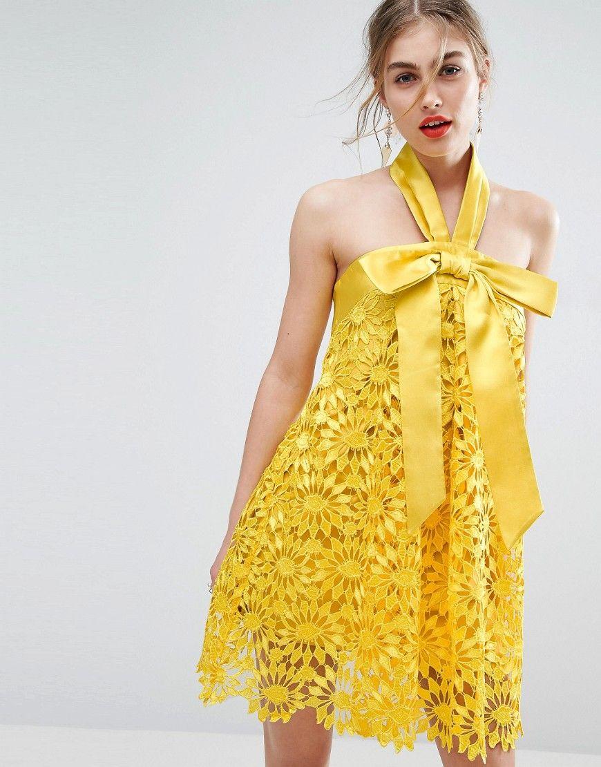 ASOS SALON - Minikleid in A-Linie mit großer Schleife - Gelb Jetzt ...