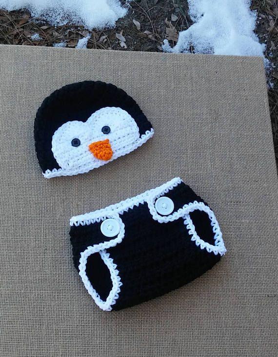 Newborn Penguin hat,Crochet Penguin outfit, crochet baby set, Penguin Photo prop,Penguin baby set,newborn hat, newborn penguin #babysets