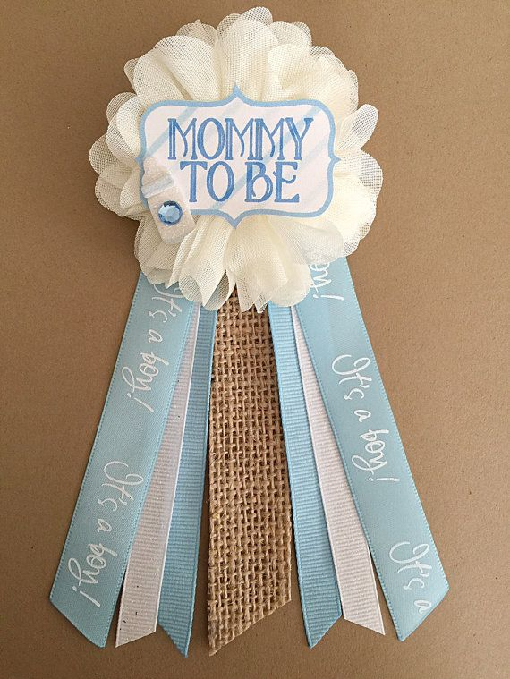 Shabby Chic Blue Baby Shower Pin Mommy To Be Pin Ribbon Corsage Glitter  Rhinestone Mommy Mom Burlap Bow Tie Baby Shower Pin Mommy To Be Pin