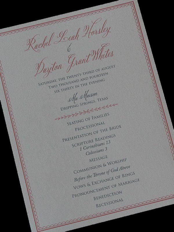 Wedding Program Crane Lettra Dragonfly Designs Custom Invitations