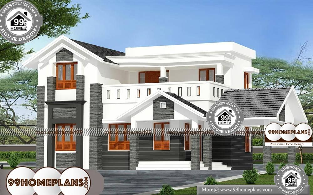 House Two Storey Design 2 Story 2200 Sqft Home House Two Storey Design Double Storied Cute 4 Bedroom House Pl House Balcony Design Cool House Designs House