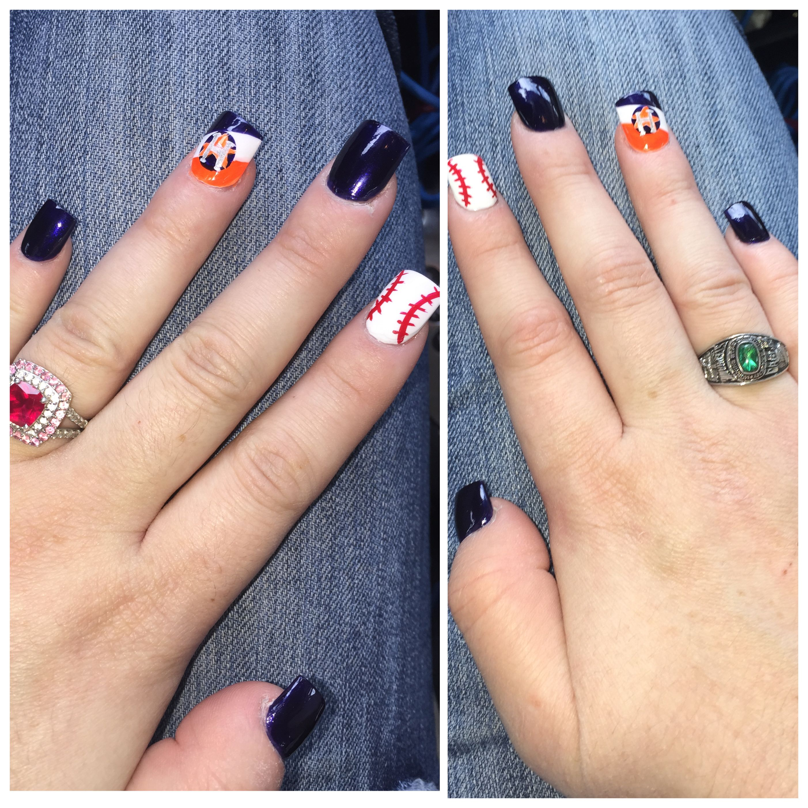 Houston Astros Nails | Fun & cute nail designs | Pinterest | Nail ...