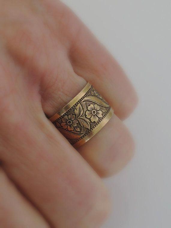 Statement Ring Ginger Flower Antique Brass Adjustable Floral Ring