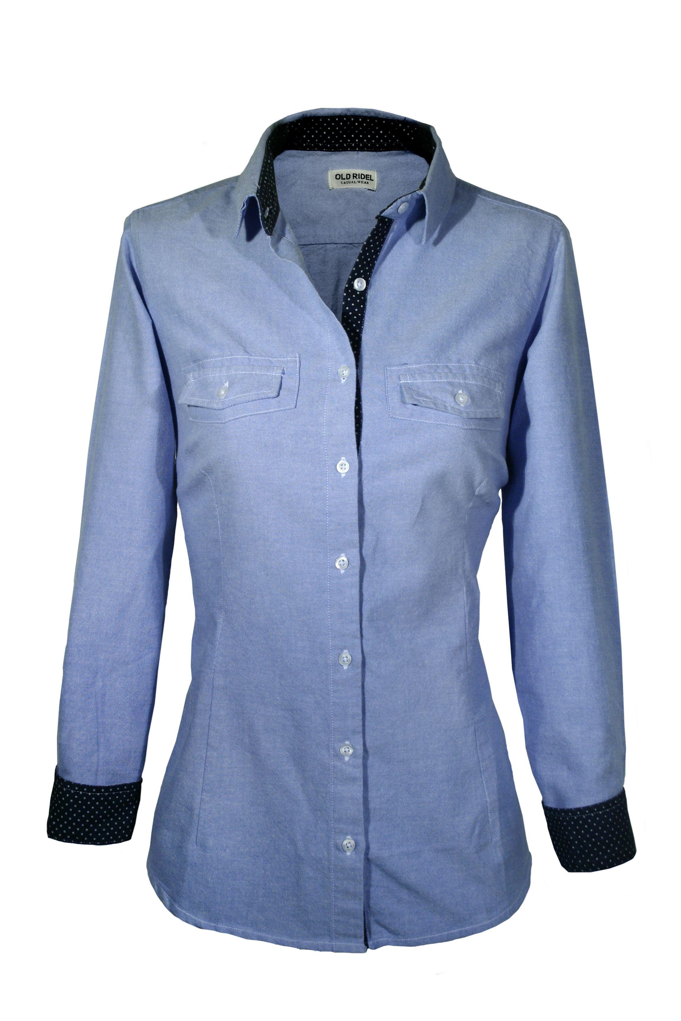 c376e06b5d8f Camisa mujer Oxford lisa azul, con detalles en los puños y cuello ...