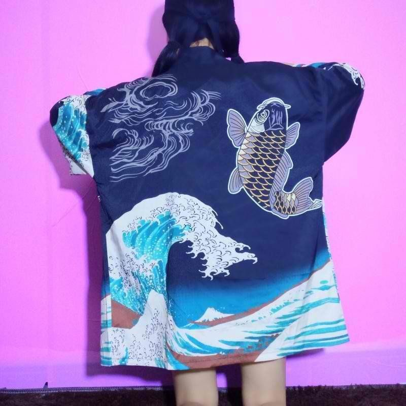 Japanese printed clouds totem kimono coat - Use the code