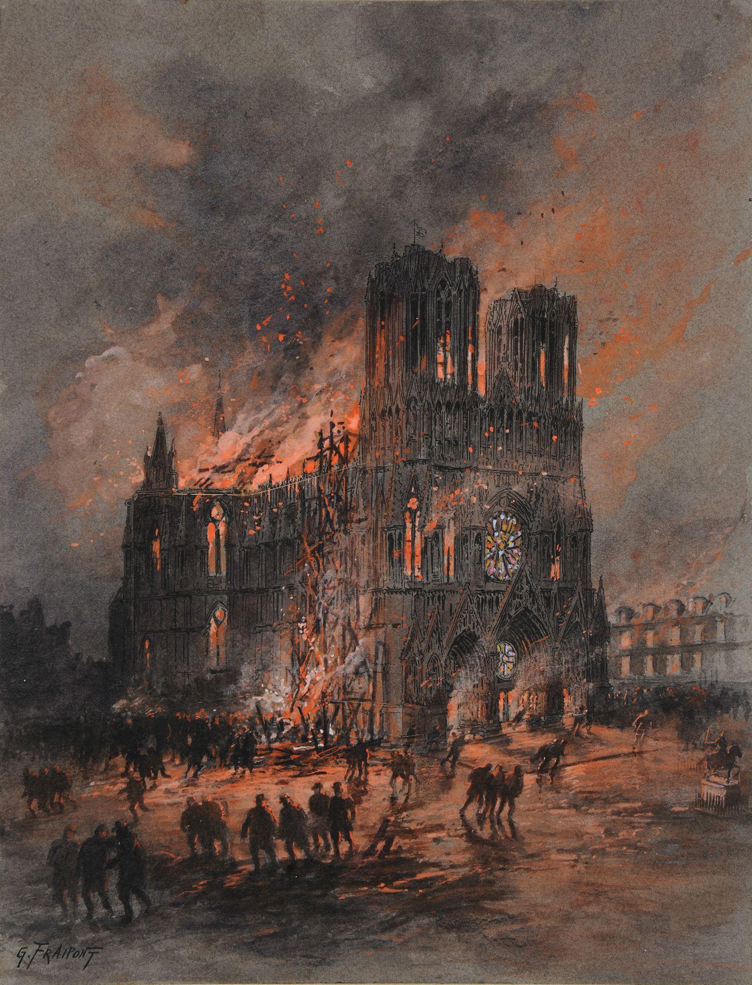 Gustave Fraipont L Incendie De La Cathedrale De Reims L Illustration 1914 Catedral Fotografia De Stock Pinturas