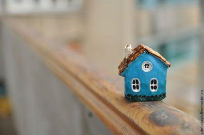 Для Марины. - синий,морской волны,дом,домик,дома,улица,глина,акриловые краски