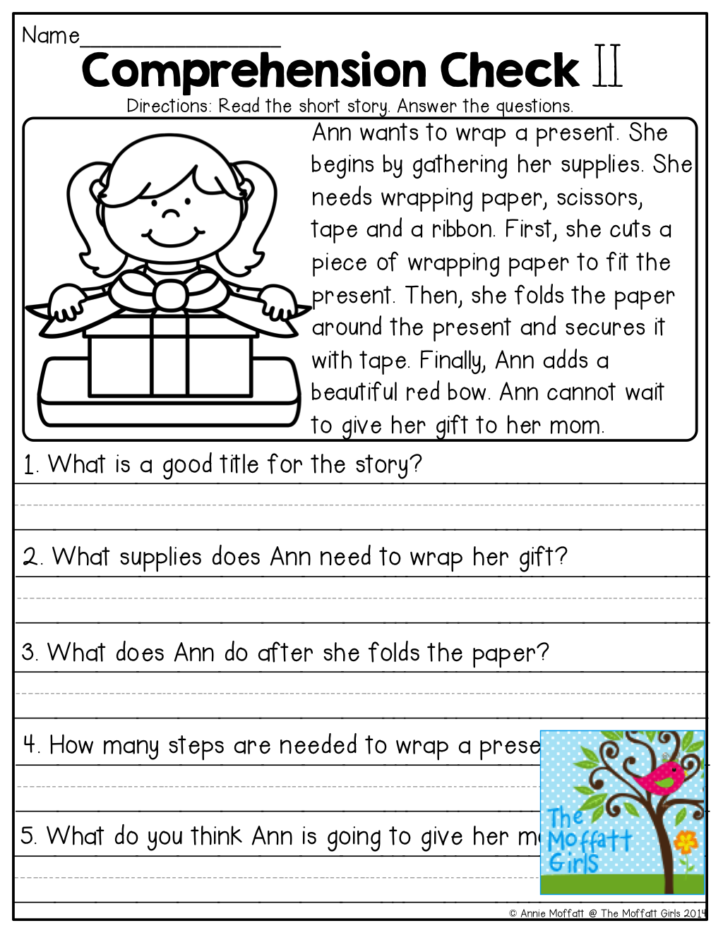 hight resolution of Comprehension Checks and TONS of other great printables!   First grade  reading comprehension