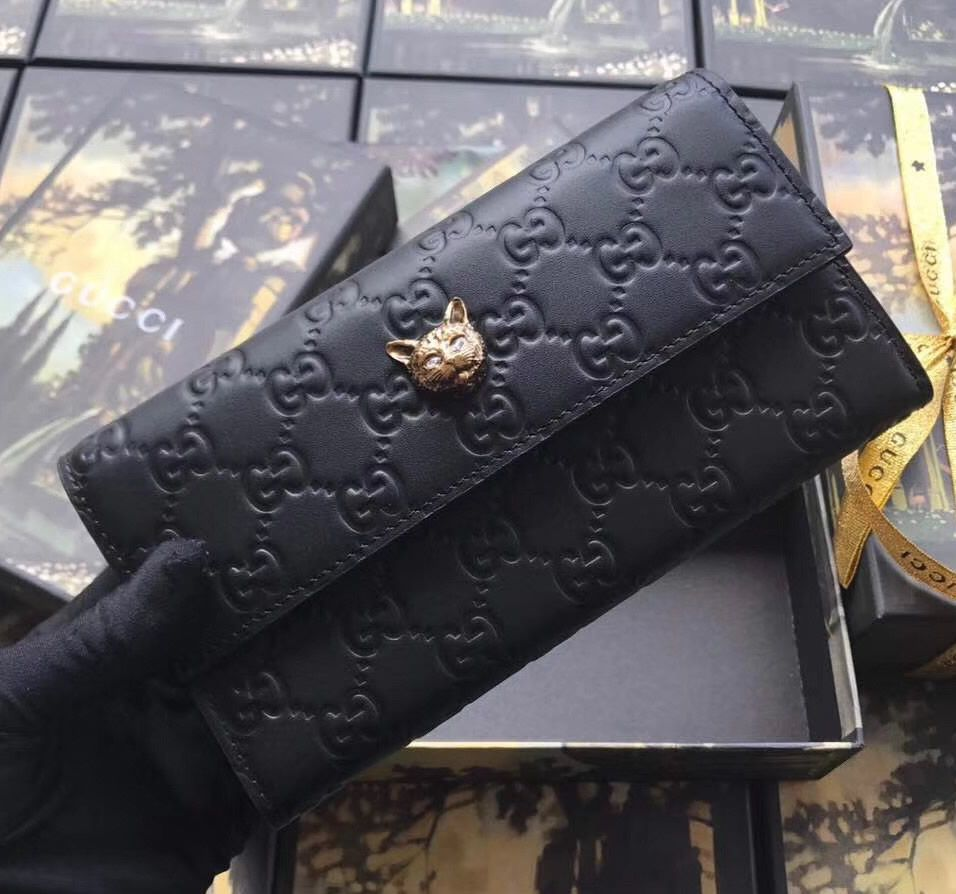 f4aeaa65aa6 Gucci Signature Continental Wallet with Cat Black