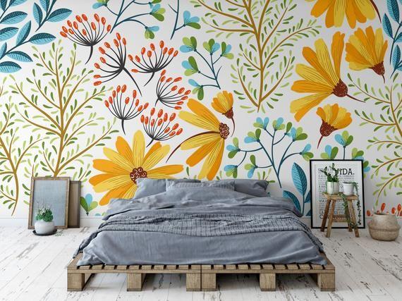 Fond Decran Amovible Colore Floral Papier Peint Peler Et Etsy Papier Peint Turquoise Decoration Papier Peint Papier Peint
