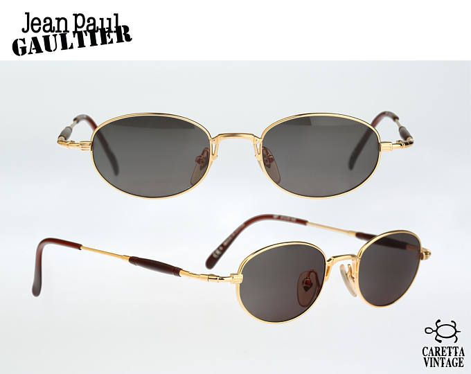 dff546f24 Jean Paul Gaultier 55-7202, Vintage oval sunglasses, 90s Rare and unique /  NOS