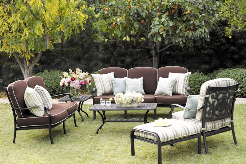 Antique Bronze St. Cruz Deep Seating Group 4 PC Set Number DL108 Is From  The Darlee Outdoor Living Classic Line And Is Offered With Standard Spicy  Chili ...