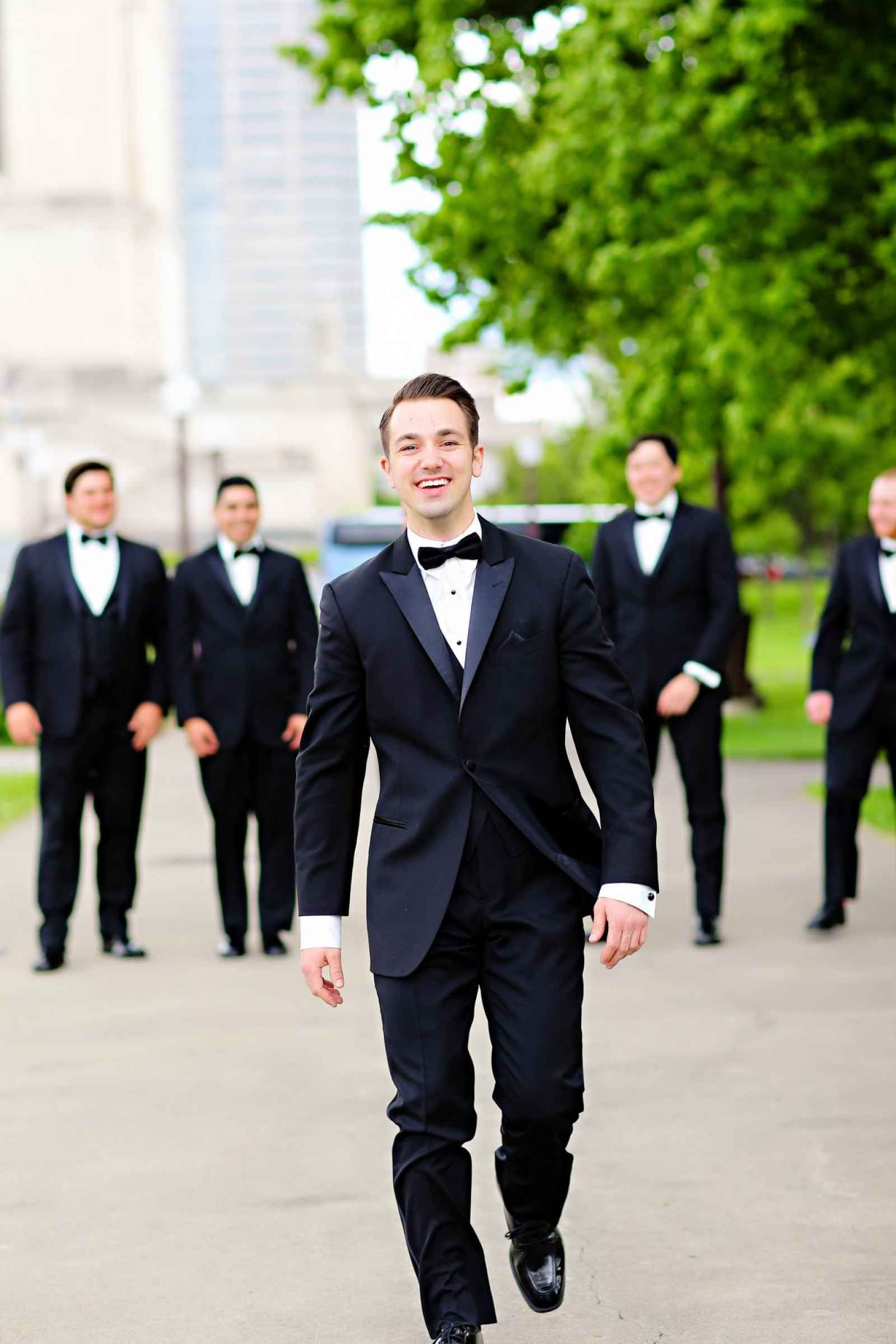 Classic black tux with bowtie for groom and groomsmen - The ...