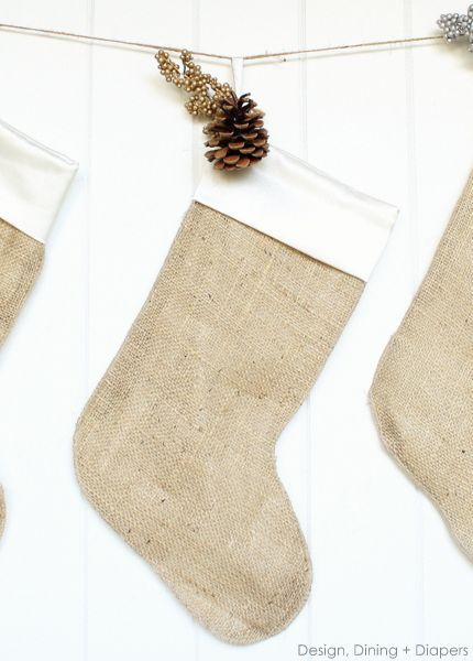 Burlap Christmas Stockings by Design, Dining + Diapers