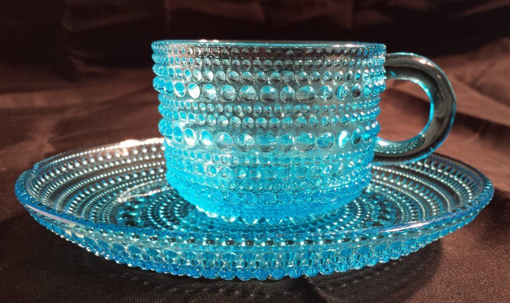 Blue tea cup and saucer