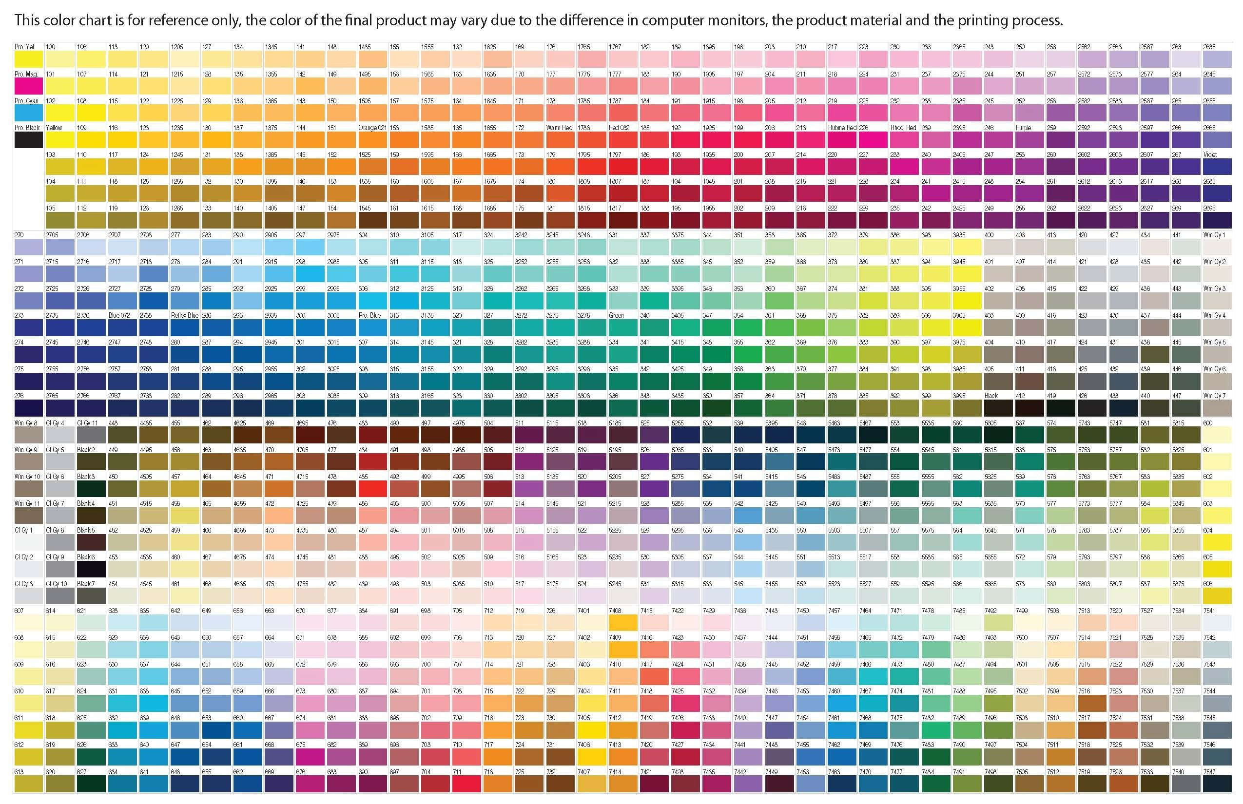 Pantone Extensive Color Chart  Color Names Codes Wheel Theory