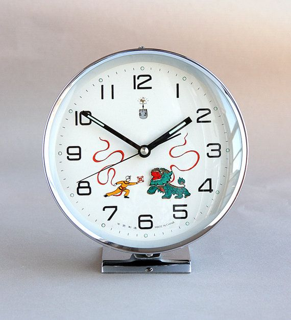 Items Similar To Vintage Chinese Alarm Clock Wind Up Mechanical