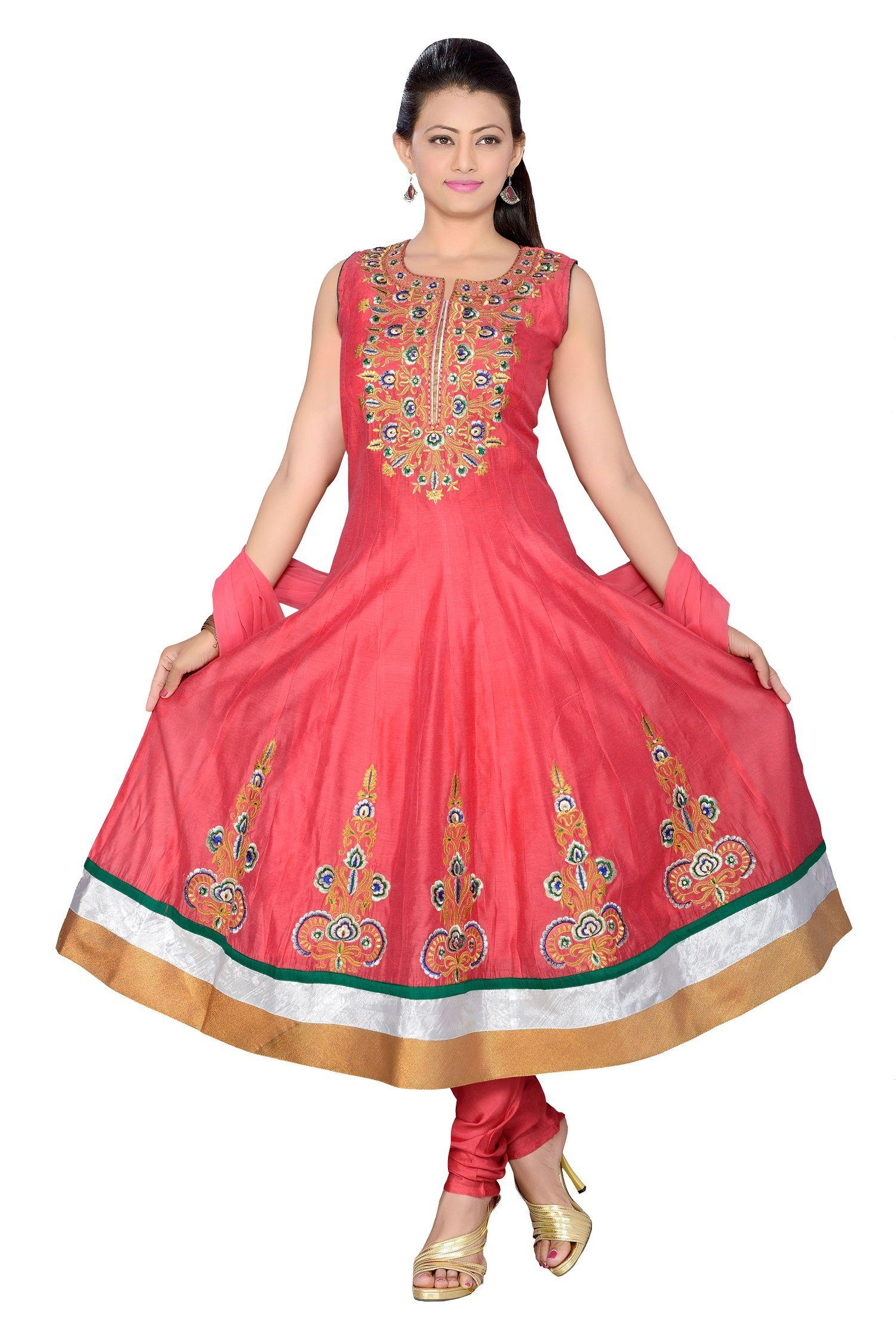 Chenderi anarakali salwar suit pink fashion inspiration