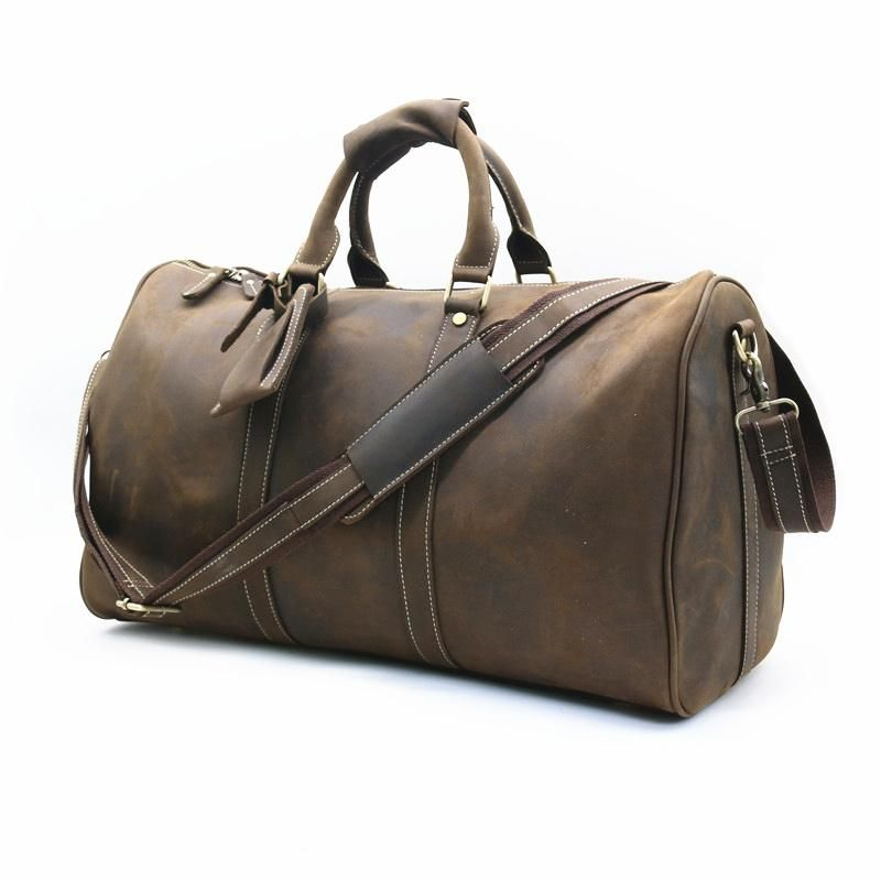 112046362fa6 Leather Mens Weekender Bag Vintage Coffee Travel Bag for men