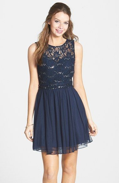 Navy lace and sequin dress | Holiday Dresses and Outfits ...