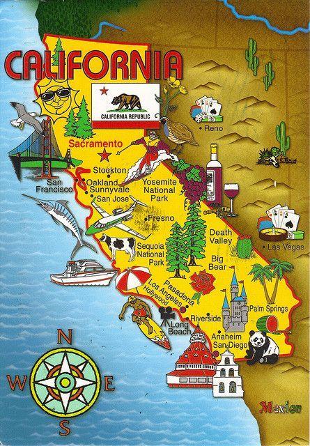 California State Cartoon Map Postcard Destinations California