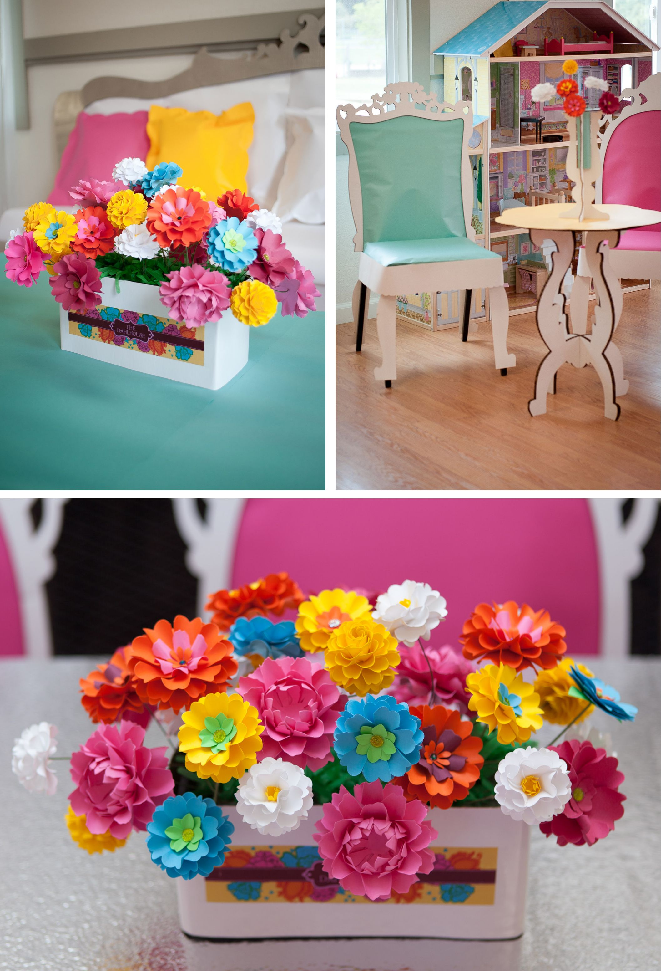 Handmade paper flowers designed by Dragonfly Expression - dollhouse party designed by Erin Borges.
