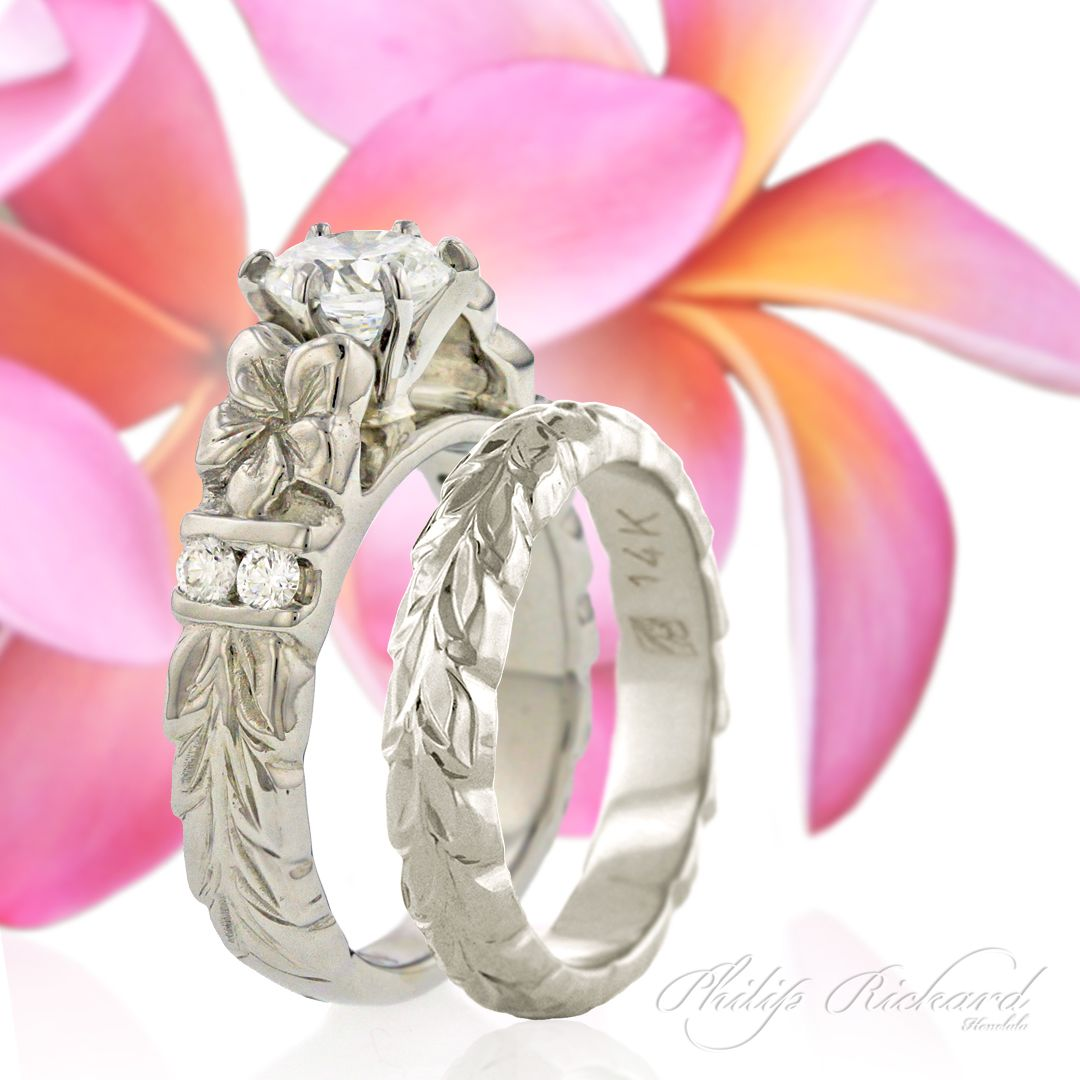 Deep Cut Maile & Plumeria 6mm French Mount w/ Diamonds | Weddings ...