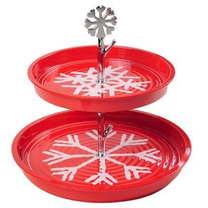 Threshold™ 2 Tier Tray - melamine red snowflake