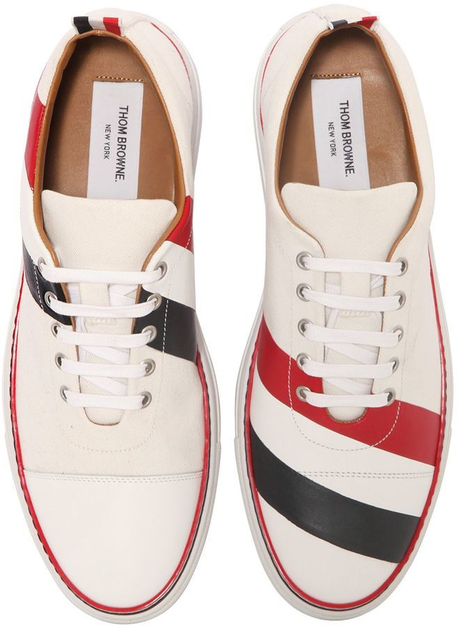 Striped Cotton And Leather Sneakers