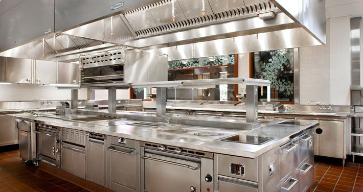 Commercial Kitchen Design Stove Stations Wide Windows Restaurant