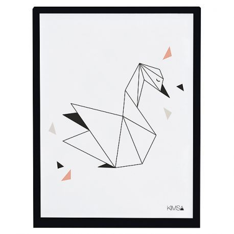 Children's painting Framed poster Origami swan Lilipinso