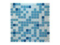 Mosaikmatte Glas Blau Mix Light 33 cm x 33 cm
