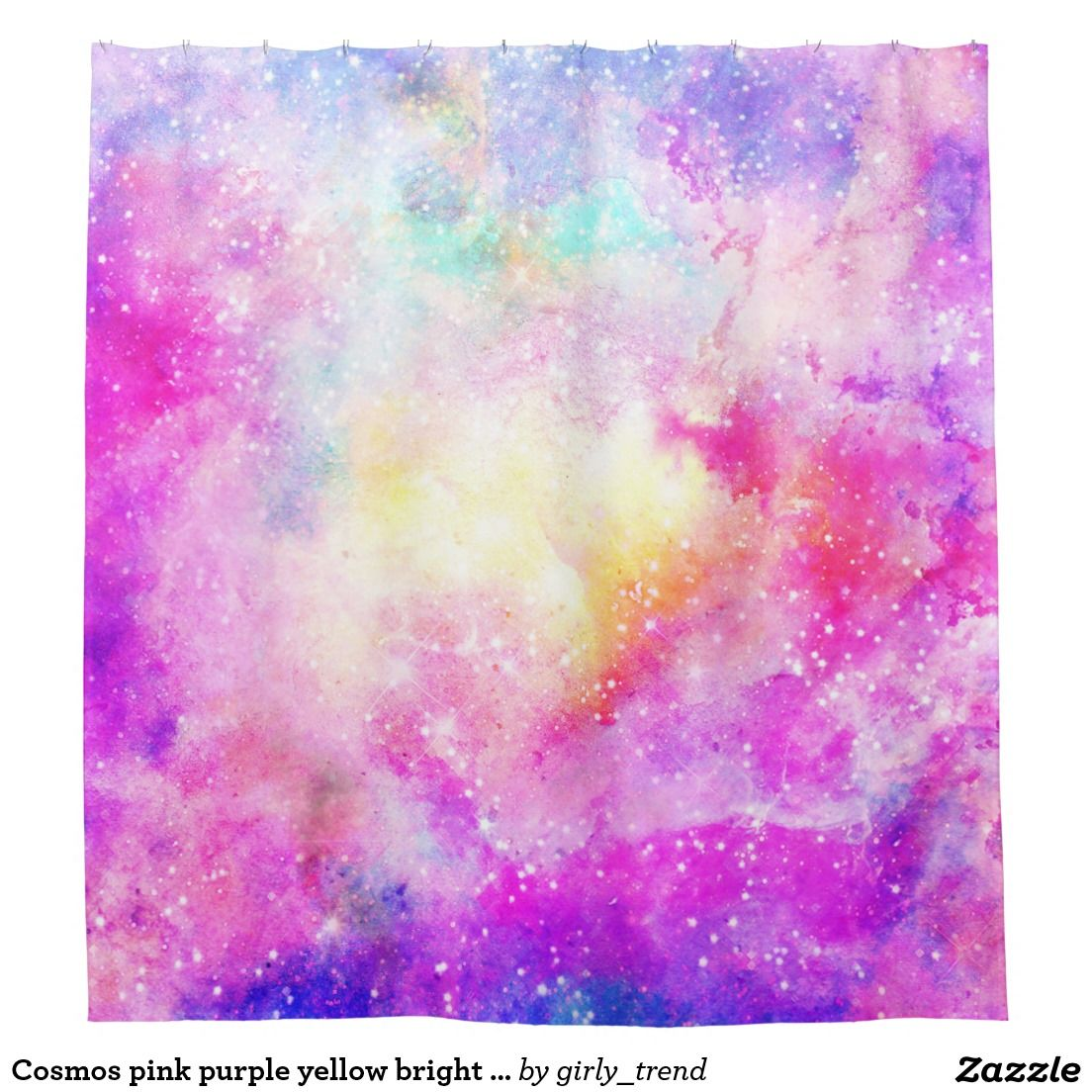 Cosmos Pink Purple Yellow Bright Nebula Watercolor Shower Curtain