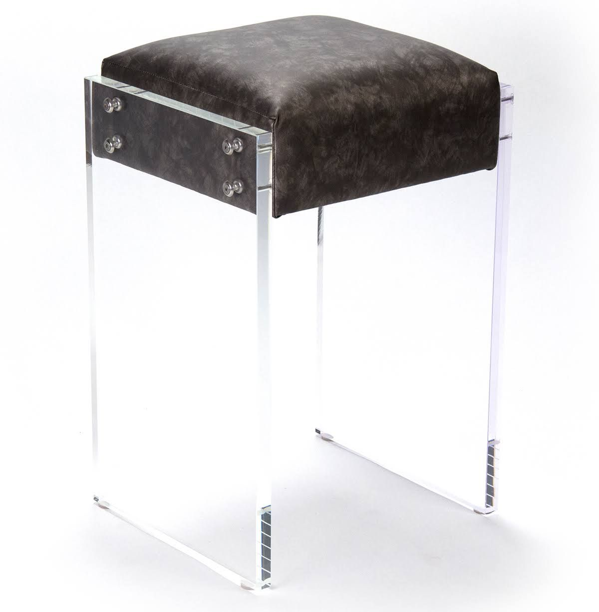 Zentique Modern Hollywood Regency Black Faux Leather Lucite Vanity Counter Stool Acrylic Counter Stools Counter Stools Stool