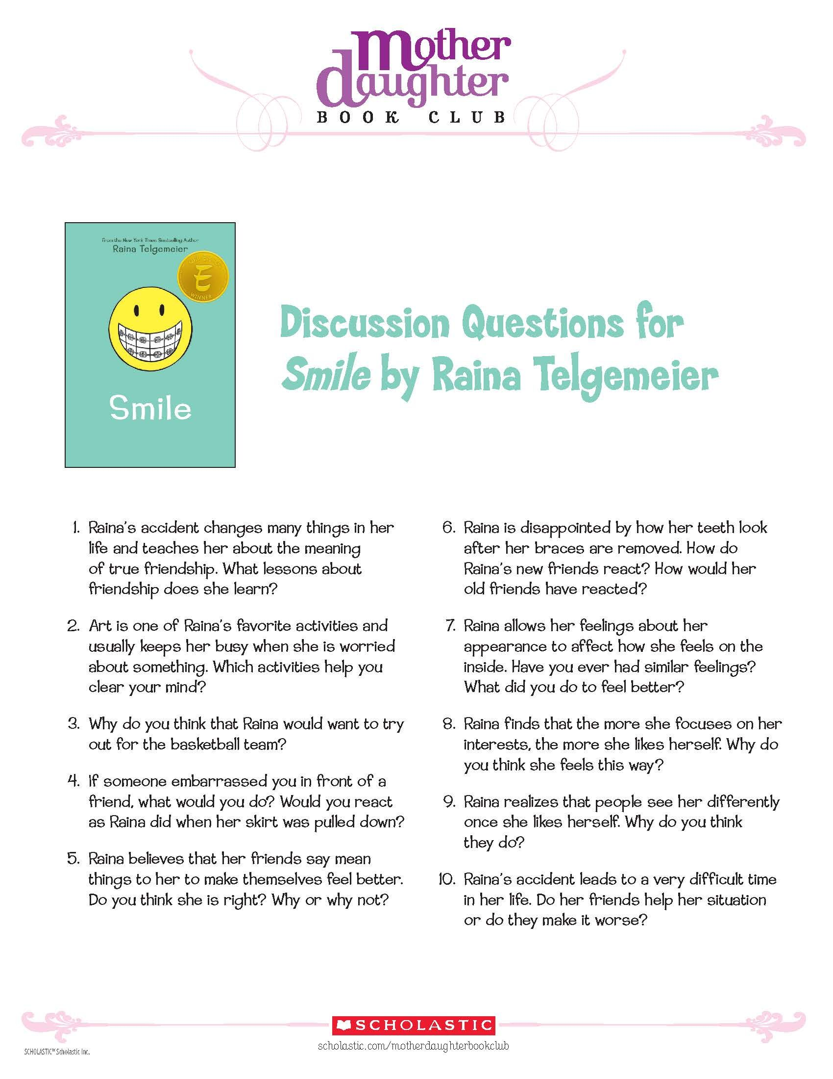Discussion Questions For Smile By Raina Telgemeier