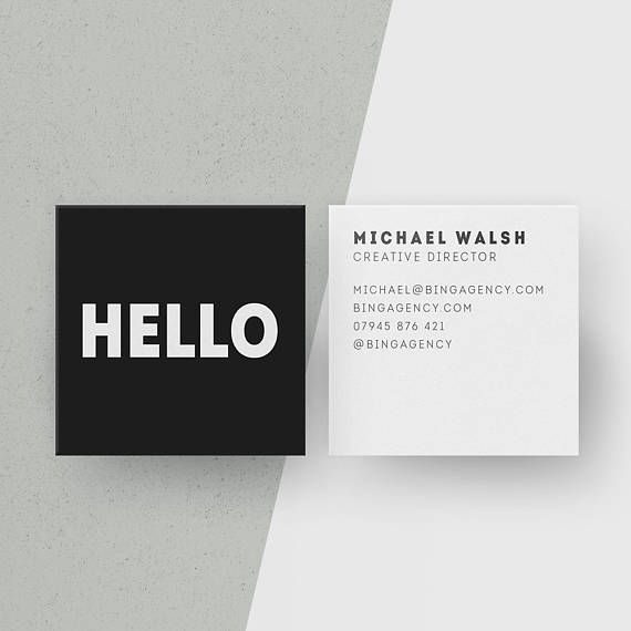 Customised square business cards minimalist black and white calling customised square business cards minimalist black and white calling cards hello personalised name card colourmoves