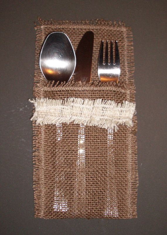 Silverware Holders Burlap Silverware Holders Set by MyBurlapStudio, $8.00