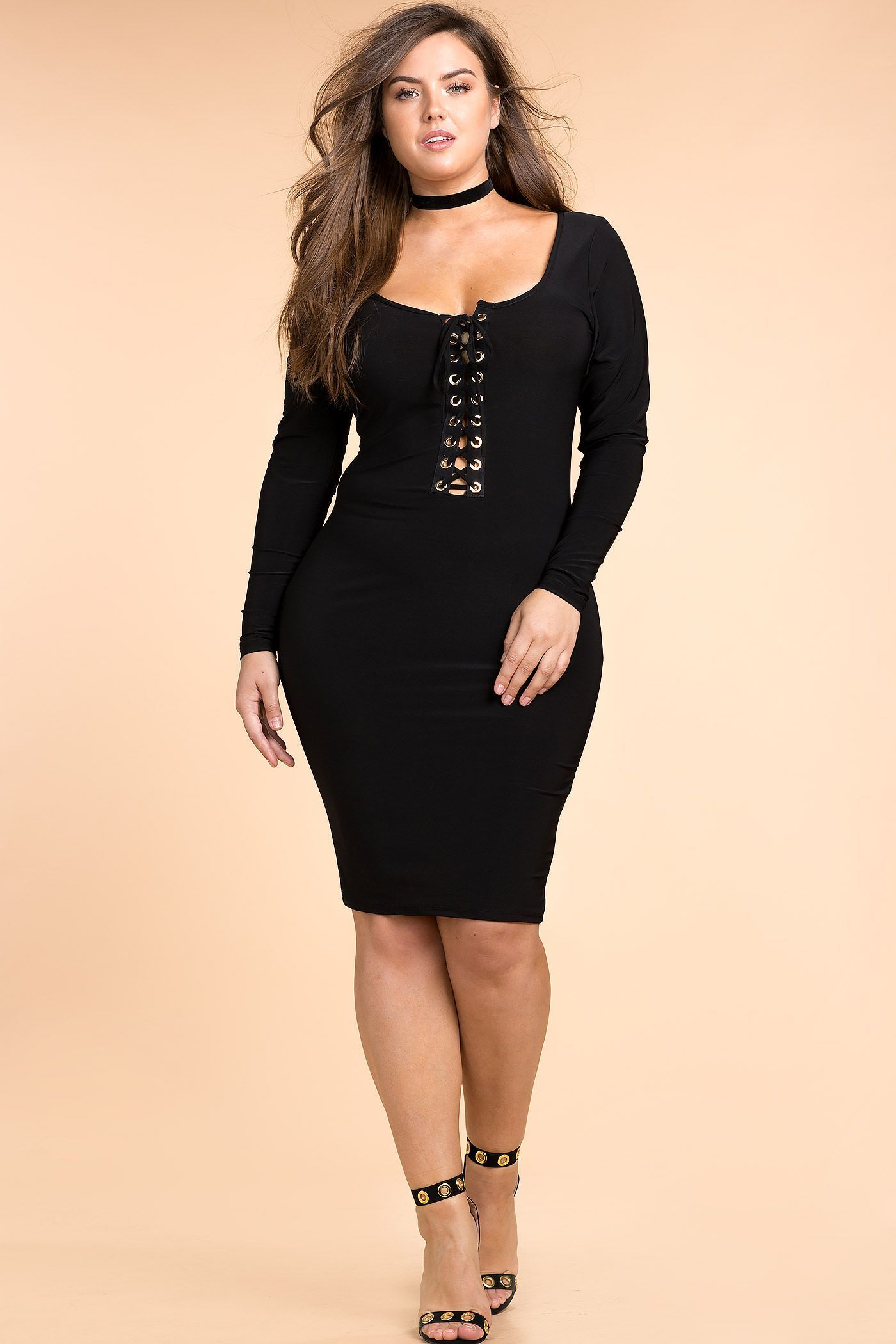 Womens Plus Size Bodycon Dresses  Plunge Lace Up Bodycon -1200