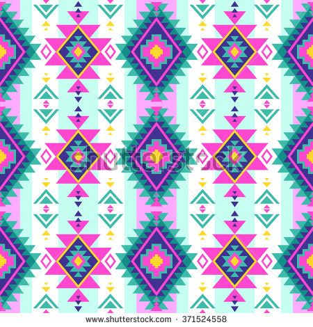 neon multicolor tribal Navajo vector seamless pattern. aztec fancy abstract geometric art print. ethnic hipster backdrop. Wallpaper, cloth design, fabric, paper, cover, textile design template. - stock vector