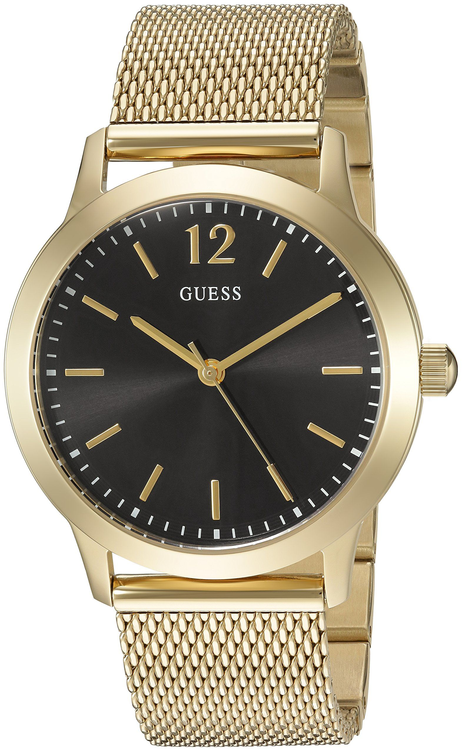 GUESS Men's U0921G3 Dressy Gold-Tone Watch with Black Dial and Mesh Band. Features an elegant minimalistic dial and Gold-tone mesh bracelet. Define your time with this modern Diamond dial. Quartz Movement. Case Diameter: 37.5mm. Water resistant to 50m (165ft: in general, suitable for short periods of recreational swimming, but not diving or snorkeling.