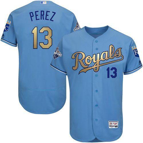f4aa92e1825 Kansas City Royals Cool Base MLB Custom Lt Blue Gold Program Jersey http