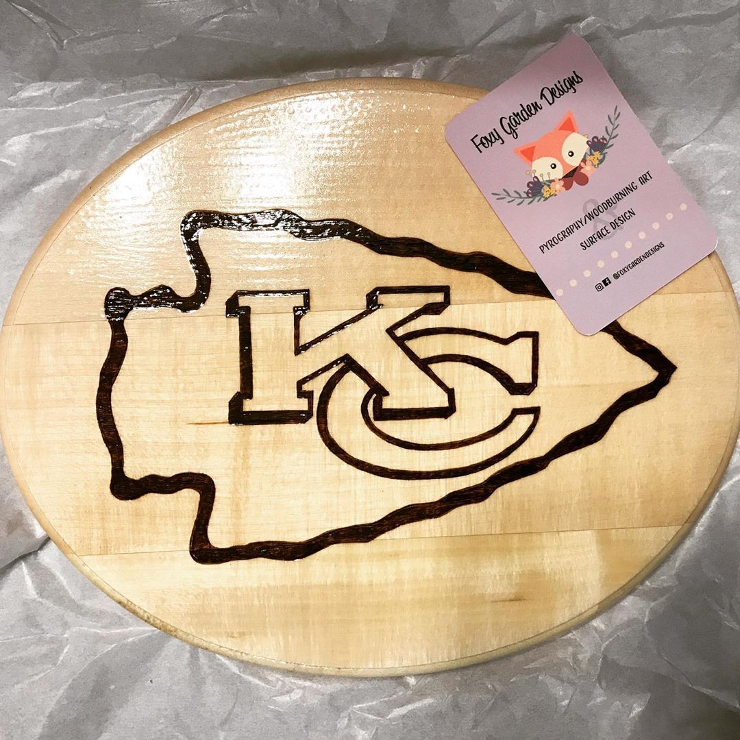 Woodburned Kansas City Chiefs logo Wood burning art