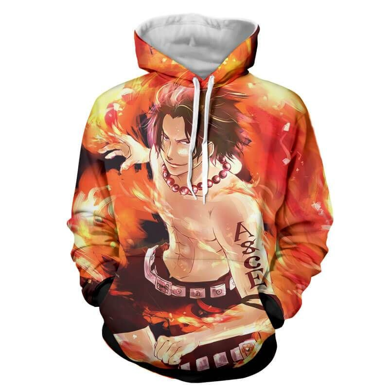 Ace spirit one piece hoodie hoodies anime hoodie