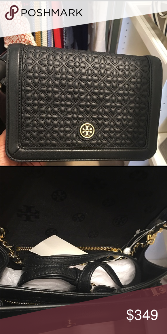 23eddf56993 Tory Burch Bryant Quilted Combo Crossbody Bag Style   18169684 • Gold tone  hardware